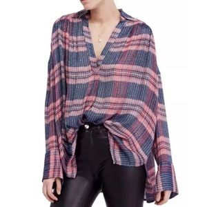 Free People Oversized Plaid Flannel Tunic Top NEW